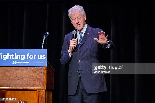 Former President Bill Clinton speaks at Ashe Power House Theater while campaigning for his wife Democratic presidential candidate Hillary Clinton on...