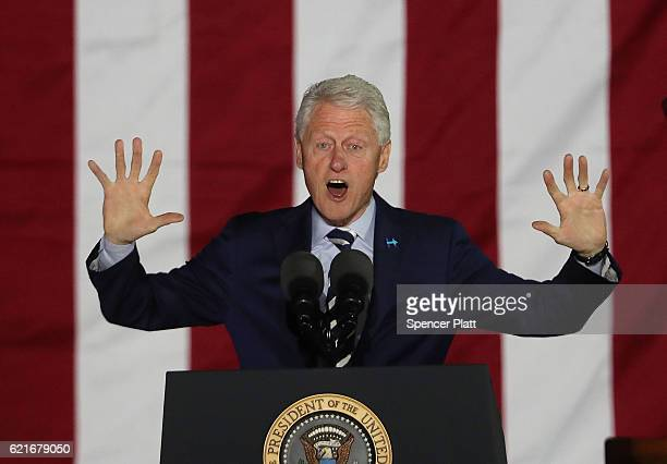 Former President Bill Clinton speaks before his wife Democratic presidential nominee former Secretary of State Hillary Clinton during an election eve...