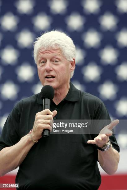 Former President Bill Clinton speaks during a campaign event for his wife Democratic presidential hopeful US Sen Hillary Clinton at the Iowa Memorial...