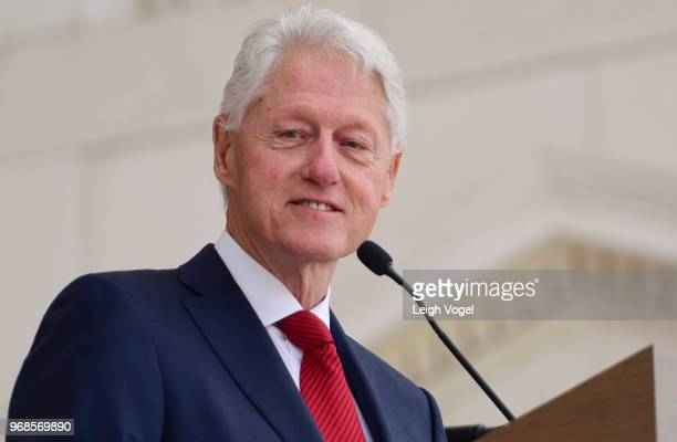 Former President Bill Clinton speaks during a Remembrance and Celebration of the Life Enduring Legacy of Robert F Kennedy event taking place at...