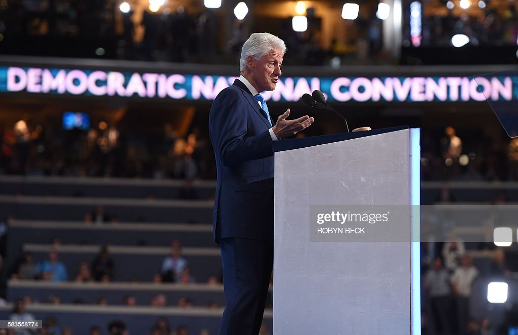 Former President Bill Clinton speaks on Day 2 of the Democratic National Convention at the Wells Fargo Center, July 26, 2016 in Philadelphia, Pennsylvania. / AFP / Robyn BECK