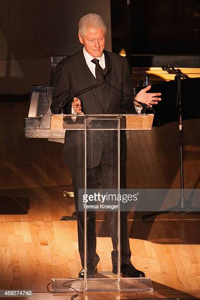 Former President Bill Clinton speaks on stage at the New Republic Centennial Gala at the Andrew W. Mellon Auditorium on November 19, 2014 in...