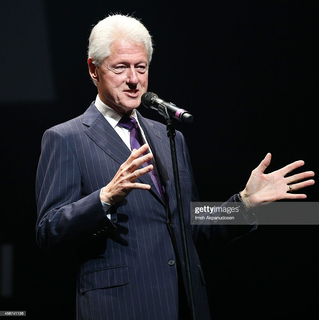 Former President Bill Clinton speaks onstage at the 2014 Thelonious Monk International Jazz Trumpet Competition at Dolby Theatre on November 9, 2014 in Hollywood, California.