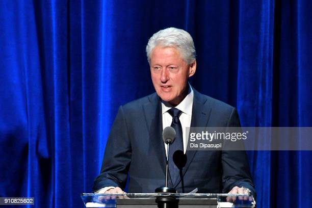 Former President Bill Clinton speaks onstage during MusiCares Person of the Year honoring Fleetwood Mac at Radio City Music Hall on January 26 2018...