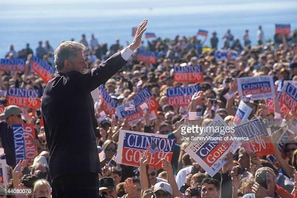 Former President Bill Clinton waves goodbye to crowd at a Santa Barbara City College campaign rally in 1996 Santa Barbara California