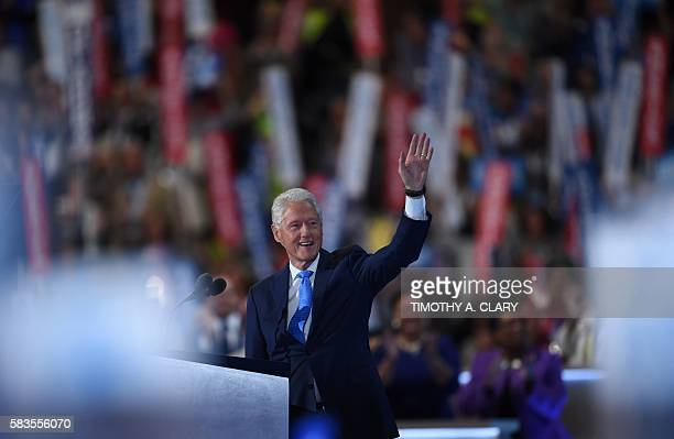 Former President Bill Clinton waves on Day 2 of the Democratic National Convention at the Wells Fargo Center July 26 2016 in Philadelphia...