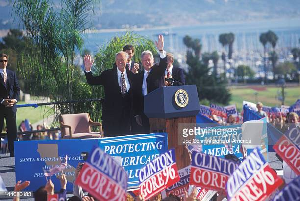 Former President Bill Clinton welcomes crowd at a Santa Barbara City College campaign rally in 1996 Santa Barbara California