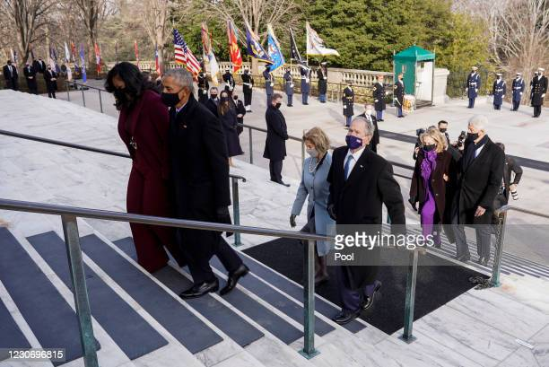 Former President Bill Clinton with wife, former Secretary of State, Hillary Clinton, former U.S. President George W. Bush with his wife Laura Bush,...