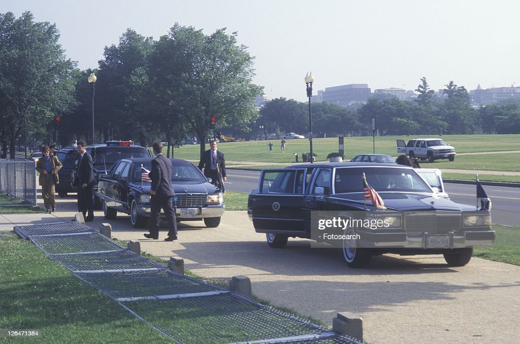 Former President Bill Clinton's Presidential Limousine at a Santa Barbara City College campaign rally in 1996 : Stock Photo