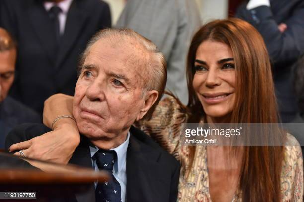 Former President Carlos Menem and Zulemita Menem during the Presidential Inauguration Ceremony at National Congress on December 10 2019 in Buenos...