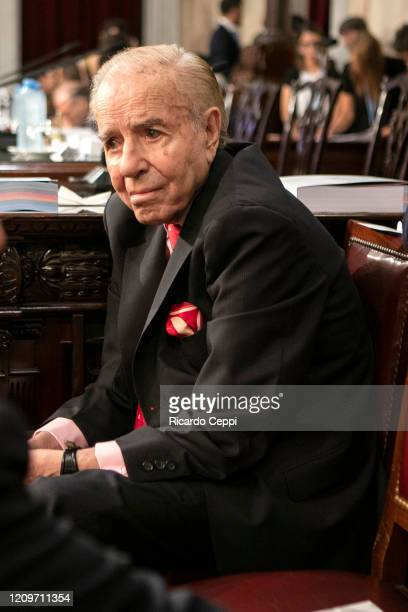 Former President Carlos Menem looks on during the opening session of the 138th period of the Argentine Congress on March 01 2020 in Buenos Aires...