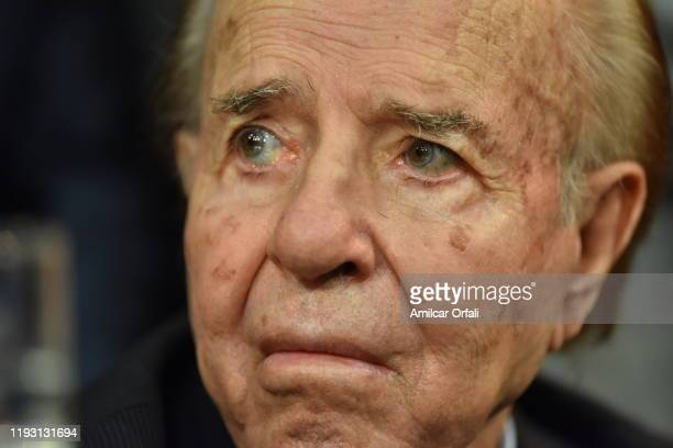 Former President Carlos Saul Menem looks on during the Presidential Inauguration Ceremony at National Congress on December 10 2019 in Buenos Aires...