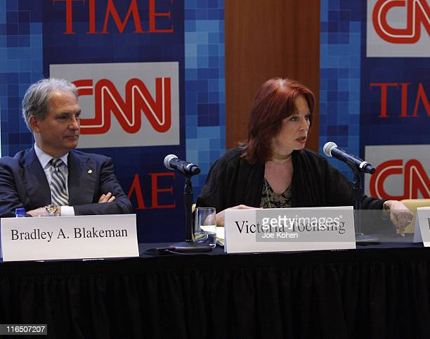 Former President CEO of Freedom's Watch Bradley A Blakeman and Former deputy assistant attorney general Victoria Toensing speak during CNN's Media...