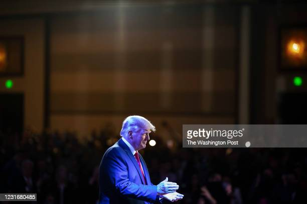 Former President Donald J Trump walks out to speak during the final day of the Conservative Political Action Conference CPAC held at the Hyatt...
