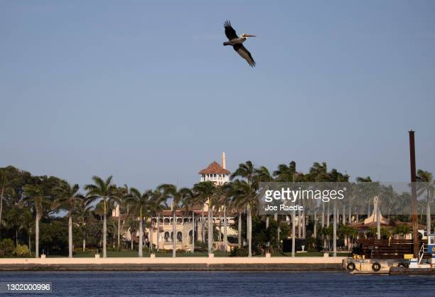 Former President Donald Trump's Mar-a-Lago resort where he resides after leaving the White House on February 13, 2021 in Palm Beach, Florida. The...