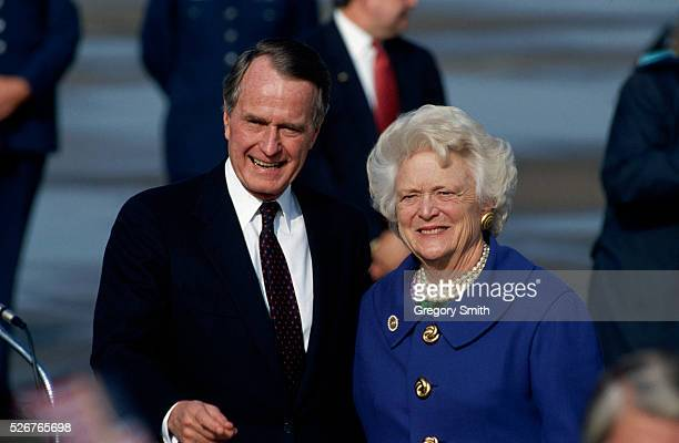 Former president George Bush and his wife Barbara arrive home on the day of Bill Clinton's inauguration President Bush lost the office to Clinton who...