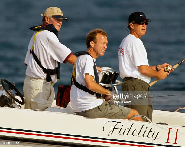 Former President George Bush fishes off the coats of Maine with his sons President George W and and Marvin Bush They fish from the family speedboat...