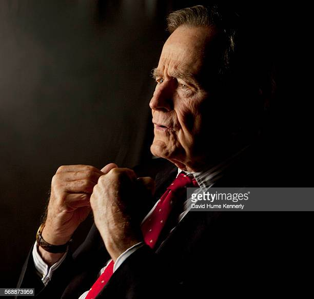 Former President George Bush is interviewed for The Gatekeepers project about White House chiefs of staff at the Bush Library, College Station,...