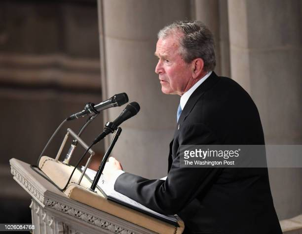 Former President George Bush speaks during the funeral service at the National Cathedral for Sen John S McCain a sixterm senator from Arizona and...