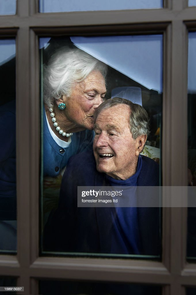 Former President George H. W. Bush and wife former first lady, Barbara Bush are photographed for Parade Magazine on May 29, 2012 in Kennebunk, Maine.