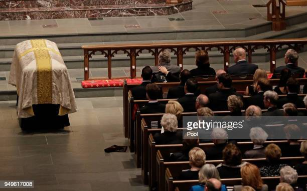 Former President George H W Bush is comforted by his daughter Dorothy Doro Bush Koch during a funeral service for former first lady Barbara Bush at...