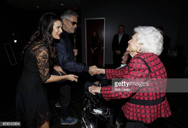 Former President George HW Bush and Former First Lady Barbara Bush meet with Andrea Bocelli and wife Veronica Bocelli before his concert at Toyota...