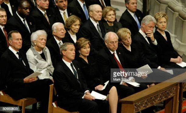 Former President George HW Bush former first lady Barbara Bush former President Jimmy Carter former first lady Rosalyn Carter former President Gerald...