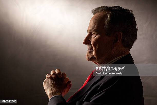 Former President George HW Bush is interviewed for 'The Presidents' Gatekeepers' project about the White House Chiefs of Staff at the Bush Library...