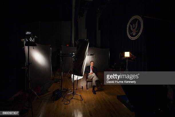 Former President George H.W. Bush is interviewed for 'The Presidents' Gatekeepers' project about the White House Chiefs of Staff at the Bush Library,...