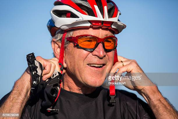 Former President George W Bush before the start of the W100K ride for wounded military veterans on his Texas ranch