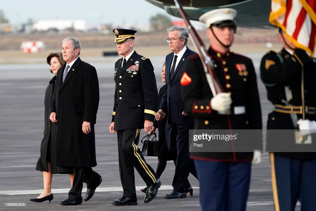 Body Of President George H.W. Bush Arrives To Ellington Air Field From D.C. For Services In Texas : News Photo