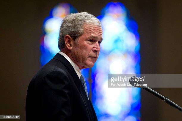 Former president George W Bush gives a tribute for Van Cliburn at his funeral at Broadway Baptist Church in Fort Worth Texas Sunday March 3 2013