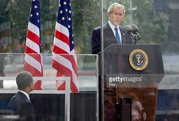 Former President George W Bush speaks as President Barack Obama listens during the tenth anniversary ceremonies of the September 11 2001 terrorist...