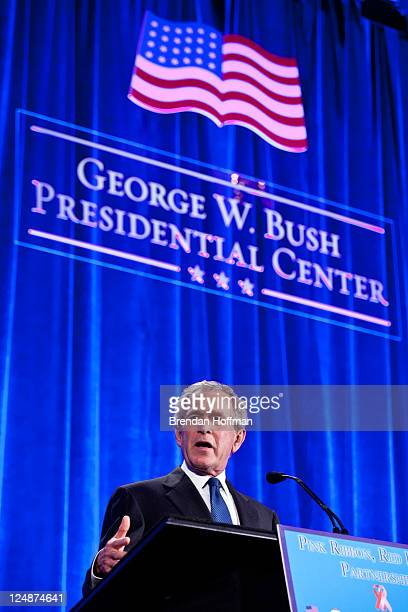 Former President George W Bush speaks at the Summit to Save Lives on September 13 2011 in Washington DC The event introduced a new initiative to...