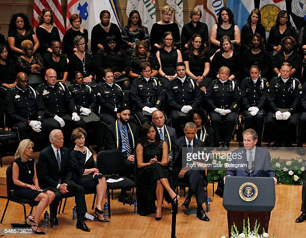 Former President George W Bush speaks during a memorial for five Dallas and DART police officers shot to death in last week's attack on Tuesday July...