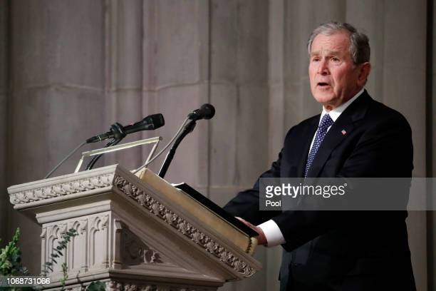 Former President George W Bush speaks during the State Funeral for his father former President George HW Bush at the Washington National Cathedral on...