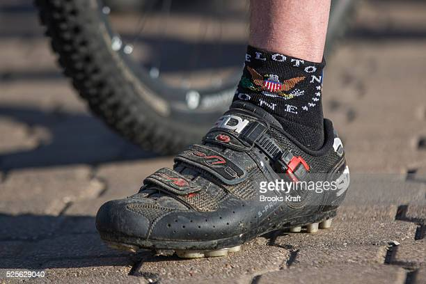 Former President George W Bush's Peloton One riding socks during the W100K ride for wounded military veterans on his Texas ranch