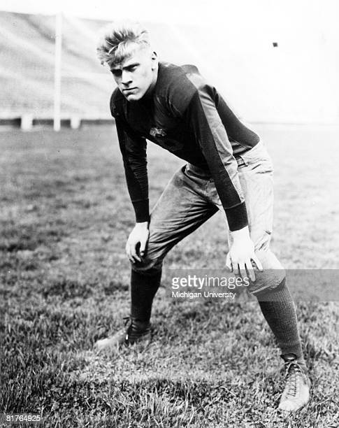 Former President Gerald Ford played center for the University of Michigan Wolverines This photo was shot in 1934