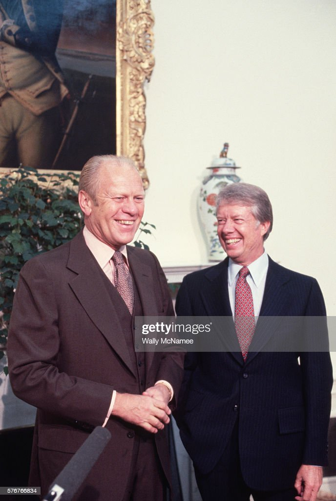 Former president Gerald Ford visits President Jimmy Carter at the Oval Office.
