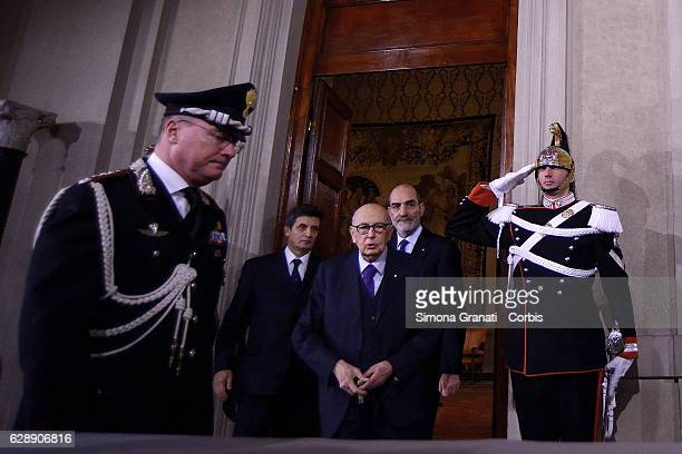 Former President Giorgio Napolitano leaves the President Sergio Mattarella studio during the first day of talks with political parties at Palazzo del...