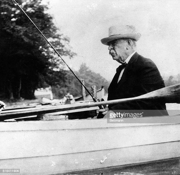 Former President Grover Cleveland fishing in canoe closeup Ca 1904 photo