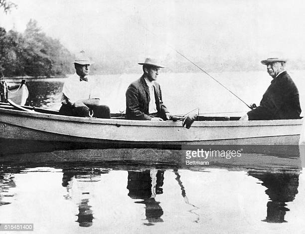 Former President Grover Cleveland fishing in canoe with friends Ca 1904 photo