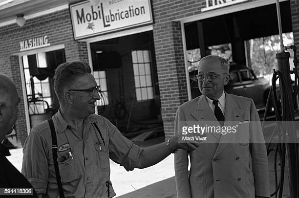 Former president Harry Truman converses with a service attendant at a Mobile gas station After his presidency ended in 1953 Truman retired to his...