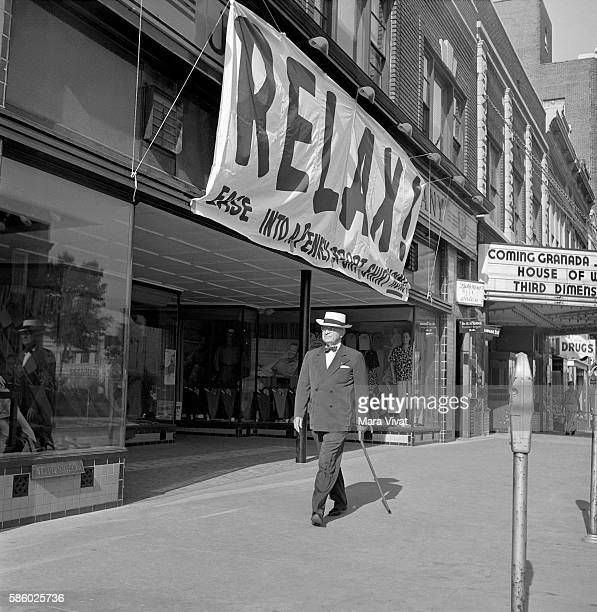Former president Harry Truman strolls by storefronts on main street After his presidency ended in 1953 Truman retired to his hometown of Independence...