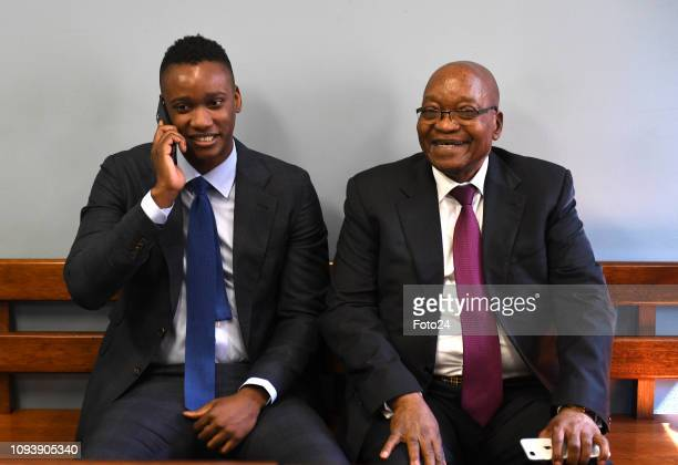 Former president Jacob Zuma supports his son Duduzane at the Johannesburg Commercial Crimes Court where he is facing charges of fraud and corruption...