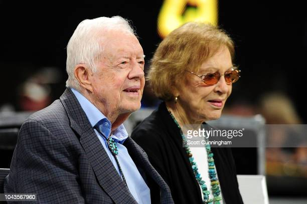 Former president Jimmy Carter and his wife Rosalynn prior to the game between the Atlanta Falcons and the Cincinnati Bengals at MercedesBenz Stadium...
