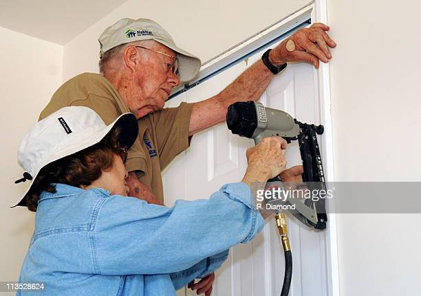Former President Jimmy Carter and Rosalynn Carter during Habitat for Humanity - 2005 Jimmy Carter Work Project - Day 3 at Detroit Area in Detroit,...