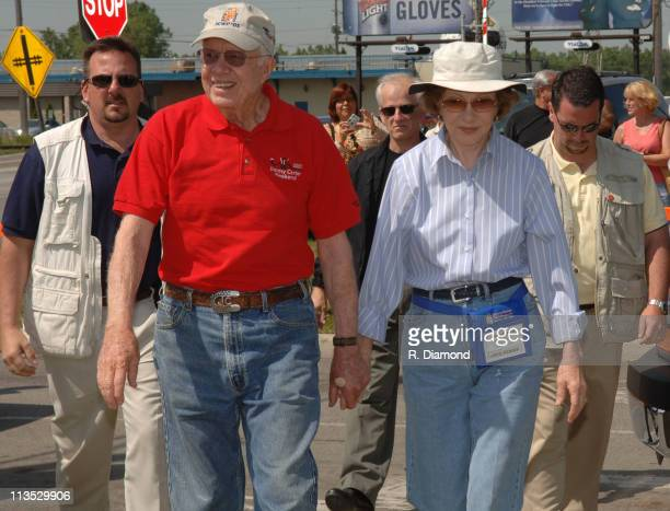Former President Jimmy Carter and Rosalynn Carter during Habitat for Humanity 2005 Jimmy Carter Work Project Day 5 at Janette St Tecumseh St West in...