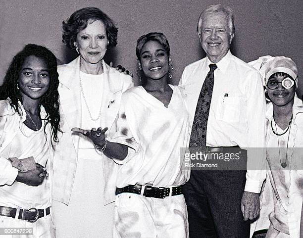 Former President Jimmy Carter cochairman of the Heal Our Children/Heal The World initiative with Singer/Songwriter TLC Rozonda Chilli Thomas Rosalynn...