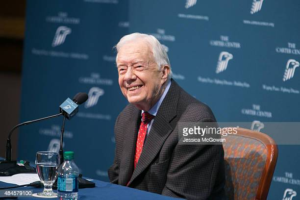 Former President Jimmy Carter discusses his cancer diagnosis during a press conference at the Carter Center on August 20 2015 in Atlanta Georgia...